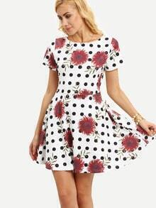 Flower & Polka Dot Print Dress