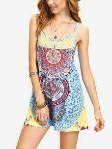 Tribal Print Cami Dress - Blue