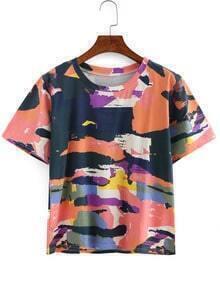 Brush Splatter Print T-shirt