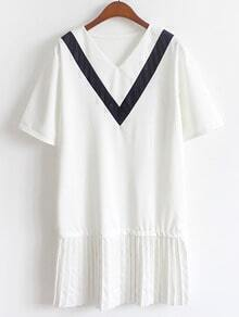 Color Panel V-Neck Pleated Chiffon Trimmed Dress - White