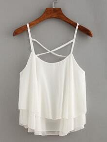 Layered Crisscross Chiffon Cami Top - White