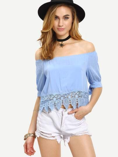 Off-The-Shoulder Lace Trimmed Tie-Sleeve Top