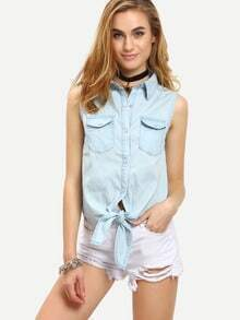 Double Flap Pocket Tie-Front Sleeveless Blouse