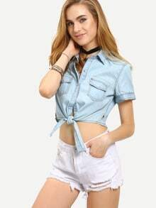 Double Flap Pocket Tie-Front Sleeveless Crop Blouse