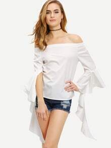 Off-The-Shoulder Ruffle Sleeve Top