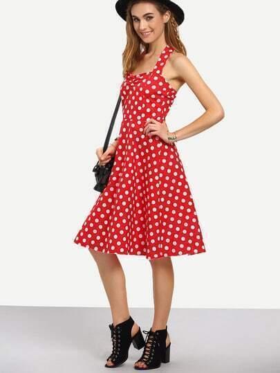 Halter Neck Polka Dot Print Dress