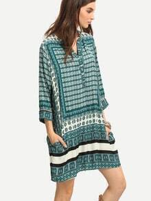Tribal Print Buttoned Placket Tunic Dress - Green
