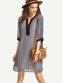 Contrast Trim Vertical Striped Tunic Dress