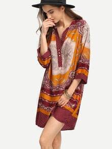 Tribal Print Buttoned Placket Tunic Dress - Red