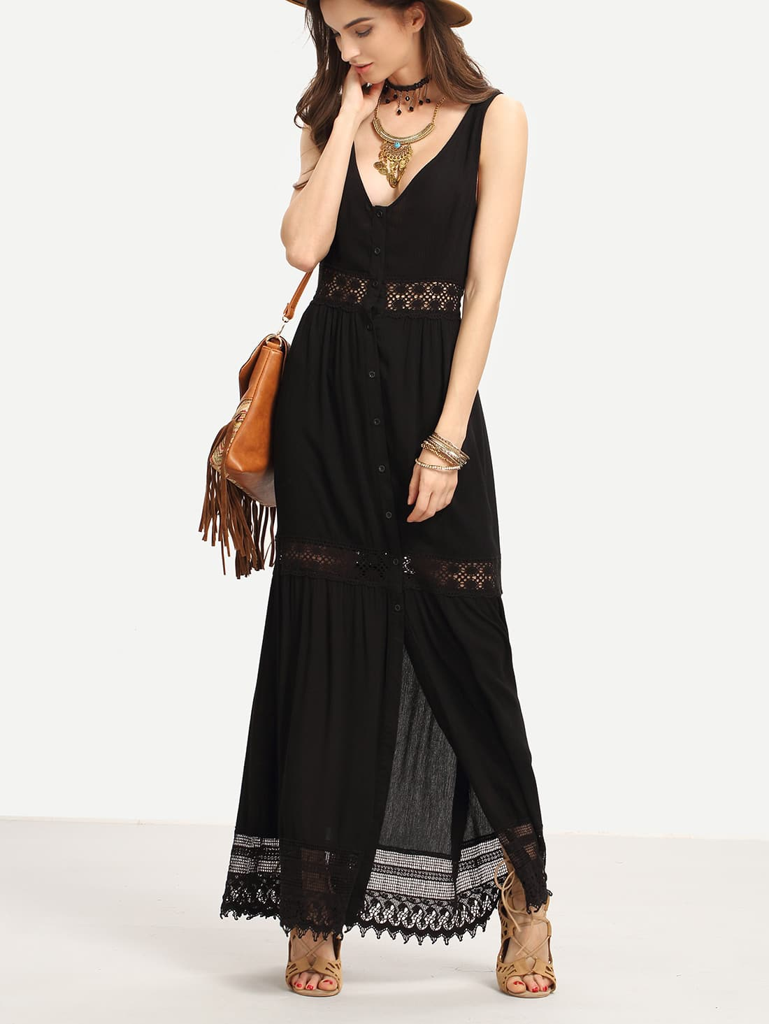 Lace Trimmed Buttoned Front Long Tank Dress zip front tank dress