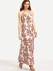 Round Windmill Print Long Cami Dress