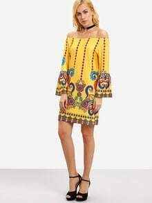 Paisley Print Bell Sleeve Tunic Dress