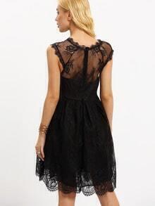sheer neckline lace dress sheinsheinside