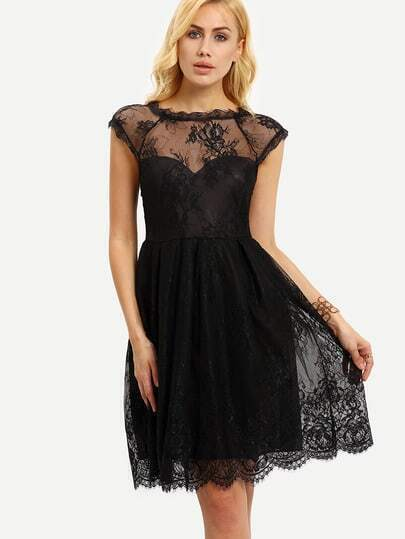 Sheer Neckline Lace Dress