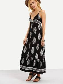 Surplice Front Flower Print Cami Dress