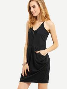 Draped Racerback Cami Dress With Side Pocket
