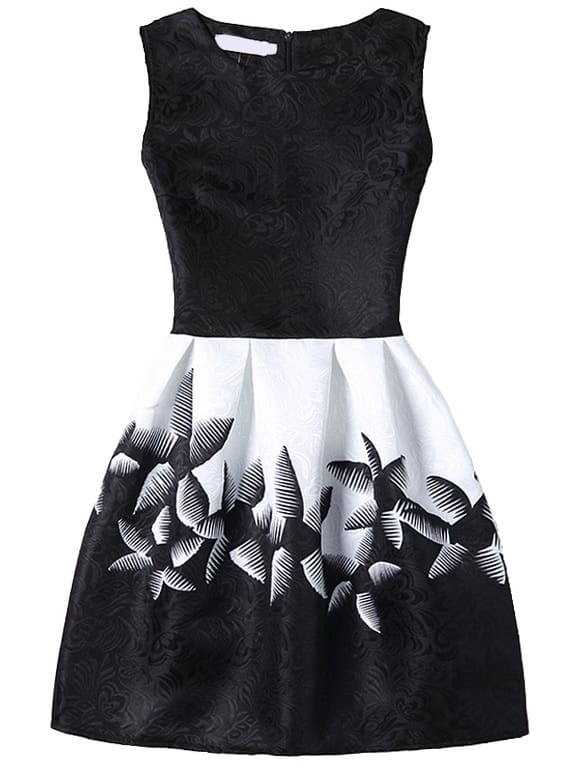 Abstract Flower Print Fit & Flare Dress With Zipper Back - Black zip back fit and flare splicing dress