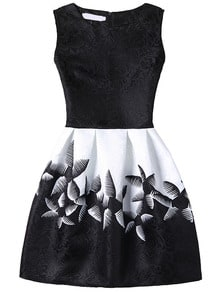 Abstract Flower Print Fit & Flare Dress - Black