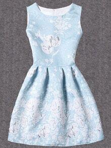 Bloom Print Fit & Flare Dress - Blue