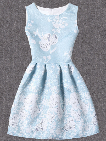 Bloom Print Fit & Flare Dress - Blue