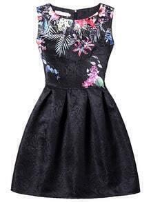 Bloom Print Fit & Flare Dress - Black