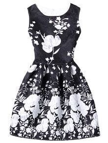 Bloom Print Fit & Flare Dress - Black