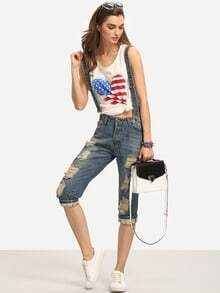 Ripped 3/4 Length Denim Overall Jeans