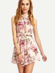 Crisscross Self-Tie Flower Print Romper