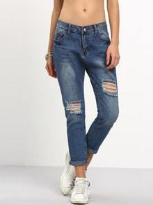 Ripped Stone Wash Jeans