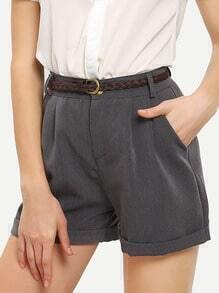 Belted Rolled Hem Shorts