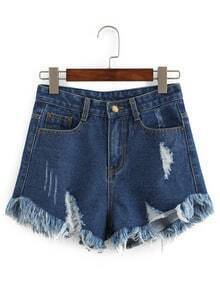 Frayed Dark Blue Denim Shorts