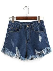 Frayed Dark Blue Denim Shorts