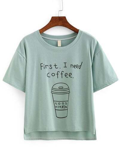 Coffee Print High-Low T-shirt