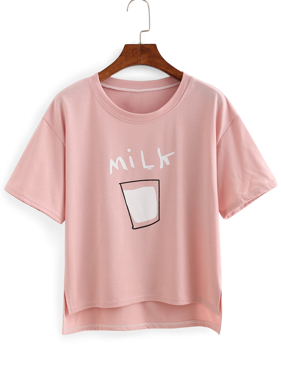 Drop Shoulder Milk Print High-Low T-shirt
