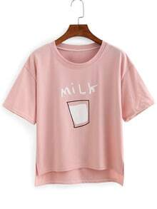 Milk Print High-Low T-shirt