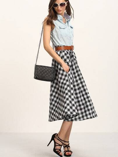 Belted Buttoned Front Checkerboard Skirt