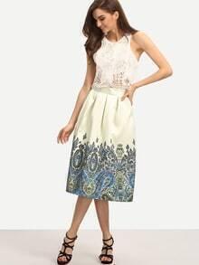 Paisley Print Box Pleated Midi Skirt