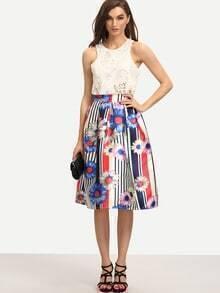 Vertical Striped & Daisy Print Midi Skirt