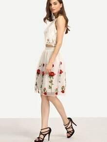 Rose Embroidered Mesh Midi Skirt