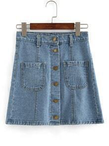 Buttoned Fornt Dual Pocket Denim Skirt