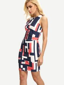 Multicolor Sleeveless Geometric Print Bodycon Dress