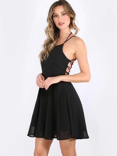 Black Sleeveless Criss Cross Lace Up Back Dress