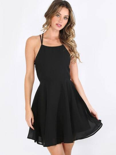 Black dresses with lace up back
