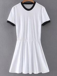 White Contrast Round Neck Knit Skater Dress