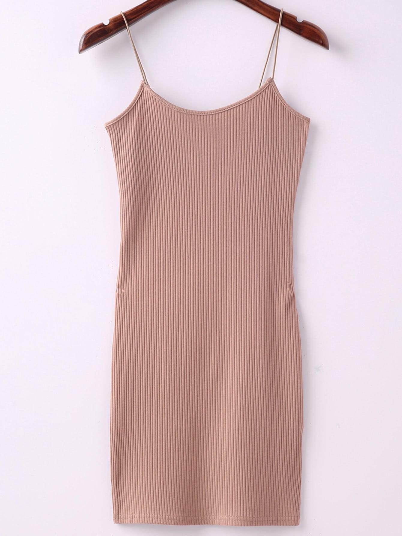 Khaki Ribbed Spaghetti Straps Sheath Dress dress160510206