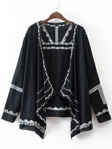 Black Long Sleeve Embroidery Cardigan Kimono