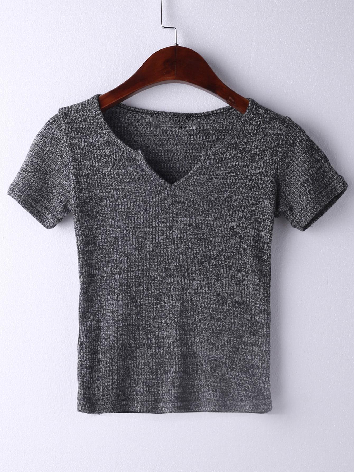 V Neckline Ribbed T-shirt tee160510211