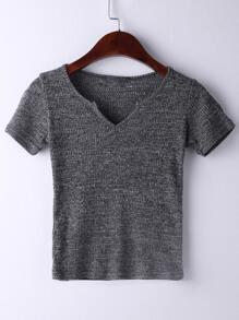 V Neckline Ribbed T-shirt SHEIN