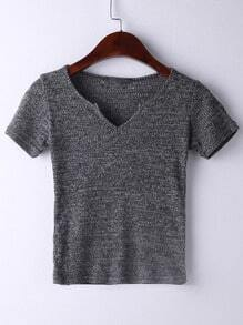 Grey Short Sleeve V Neck Ribbed T-shirt
