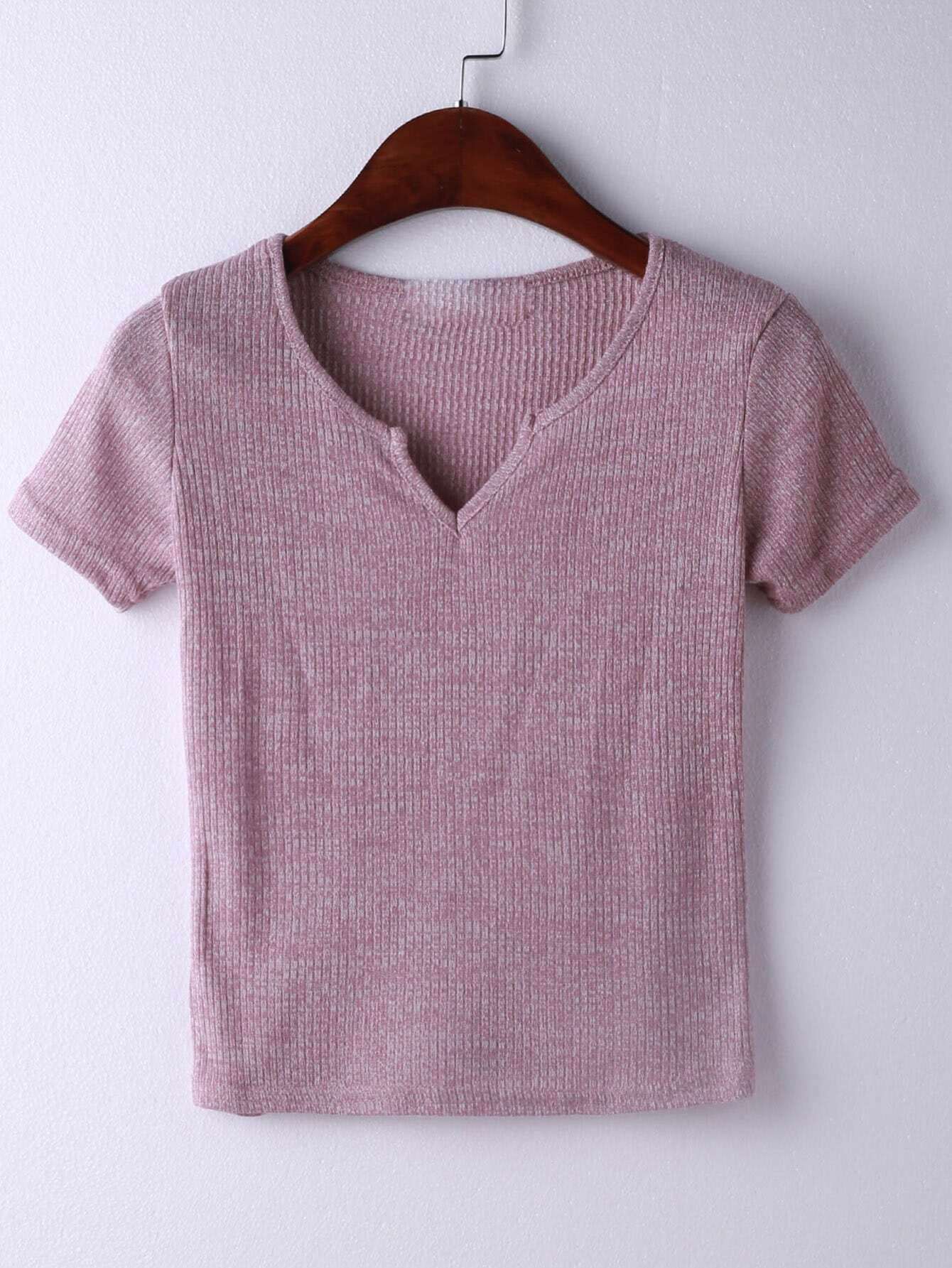V Neckline Ribbed T-shirt  цена и фото